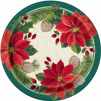 "Red & Green Poinsettia Christmas 9"" Paper Plates (8)"